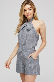storia Striped Bow Romper - Front full body