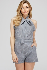 storia Striped Bow Romper - Front cropped