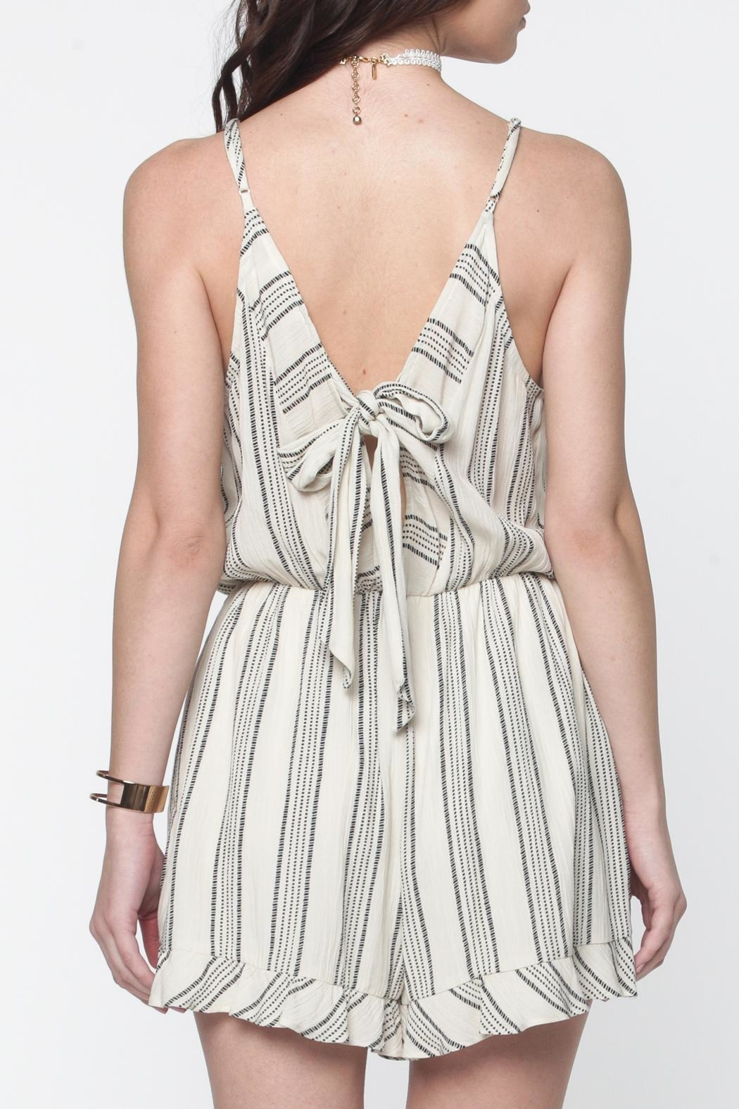Everly Striped Bow-Tie-Back Romper - Front Full Image
