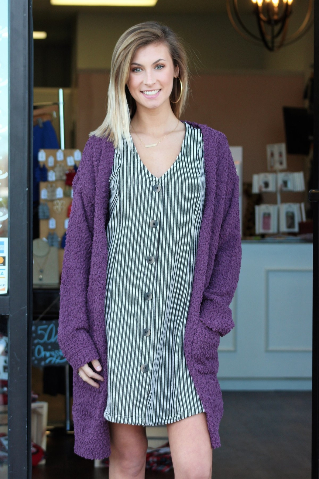 Wishlist Striped Button Accent Dress - Back Cropped Image