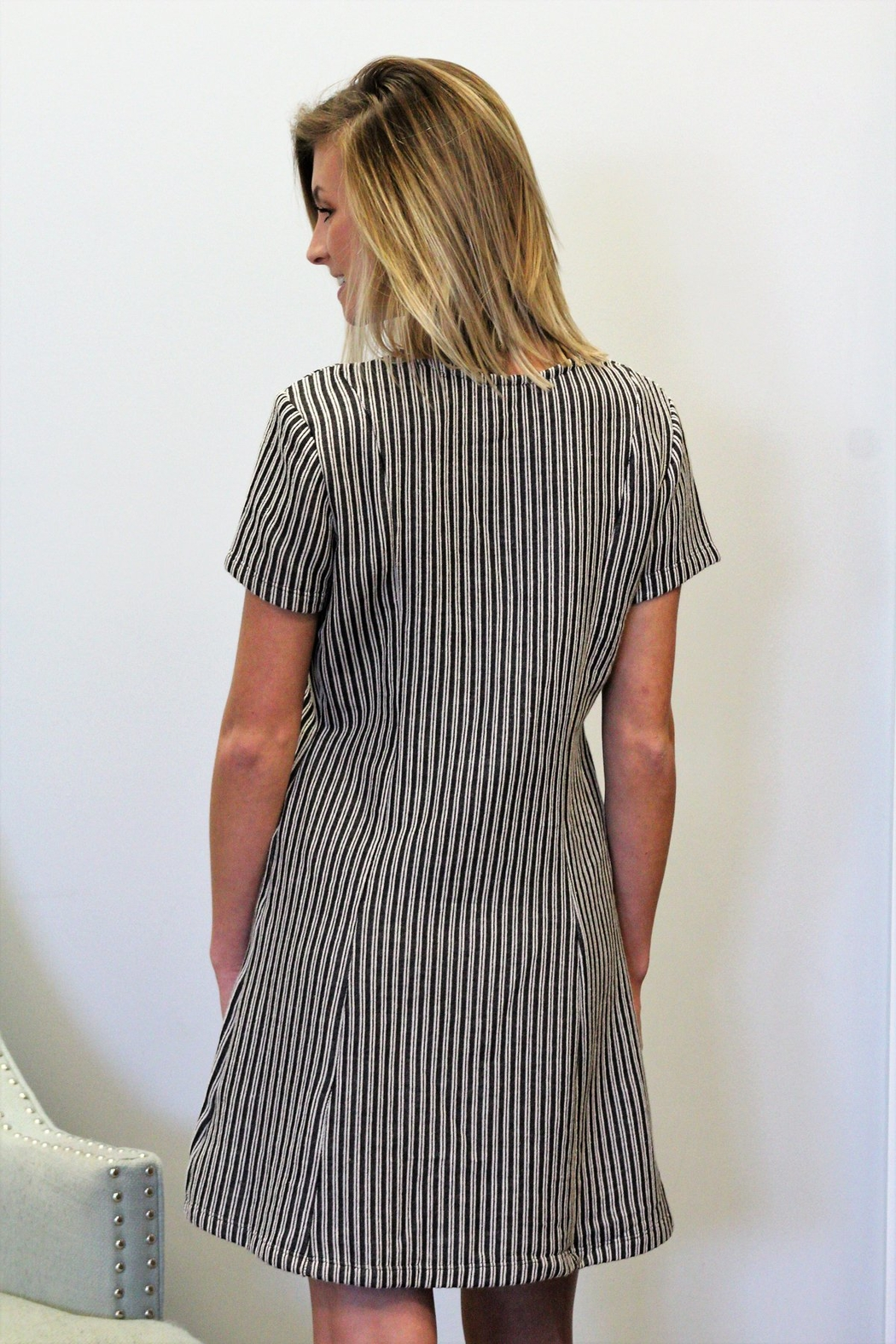 Wishlist Striped Button Accent Dress - Front Full Image