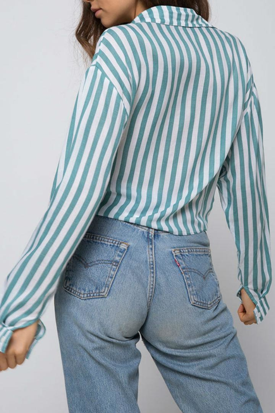 Motel Rocks Striped Button Down - Side Cropped Image