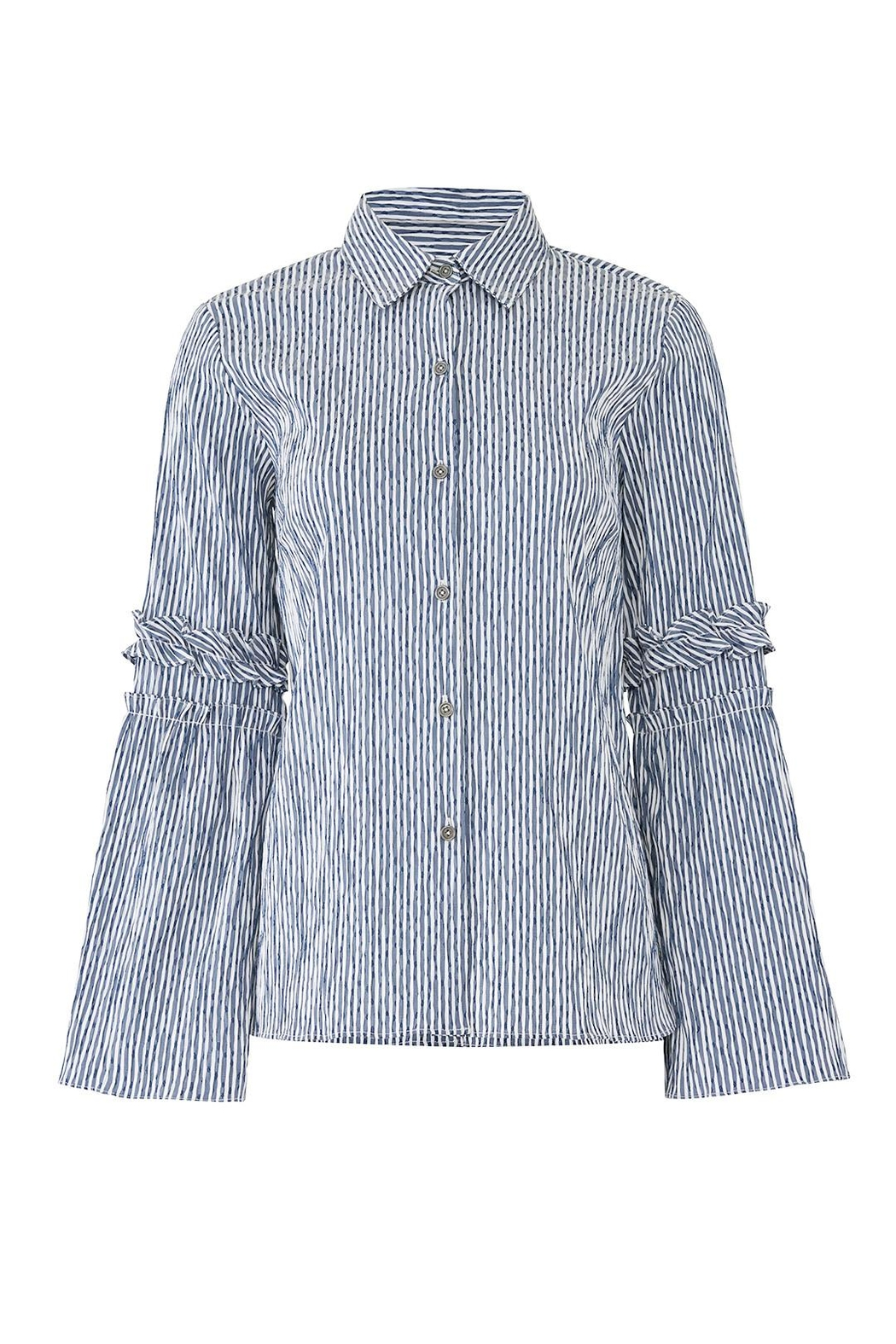 Waverly Grey Striped Button Down - Front Full Image