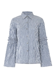 Waverly Grey Striped Button Down - Front full body