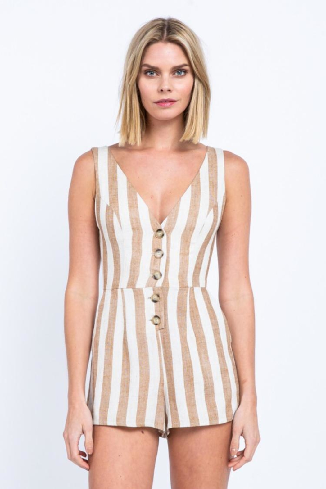 7ec86bcdf56a skylar madison Striped Button-Down Romper from Los Angeles by Chikas ...