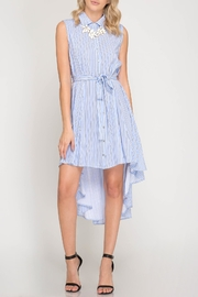 She + Sky Striped Button-Down Shirtdress - Product Mini Image