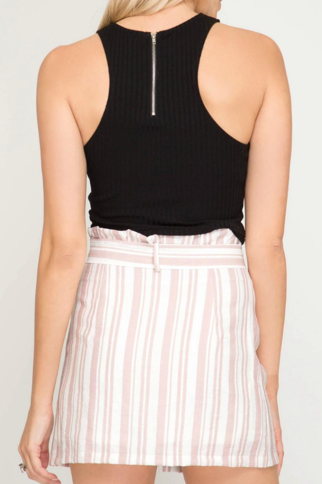 She + Sky Striped Button-Down Skirt - Front Full Image