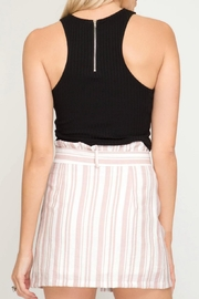 She + Sky Striped Button-Down Skirt - Front full body