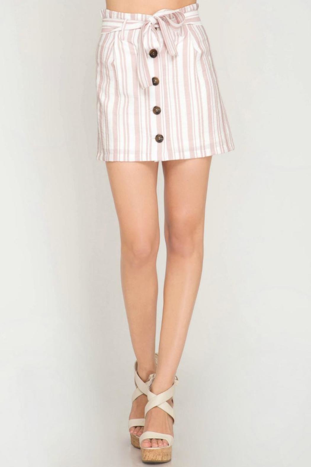 She + Sky Striped Button-Down Skirt - Back Cropped Image
