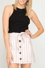 She + Sky Striped Button-Down Skirt - Front cropped