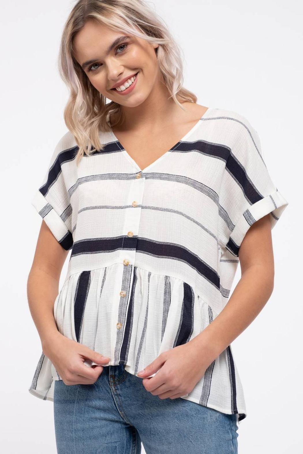 blu Pepper  Striped Button Down Top - Back Cropped Image