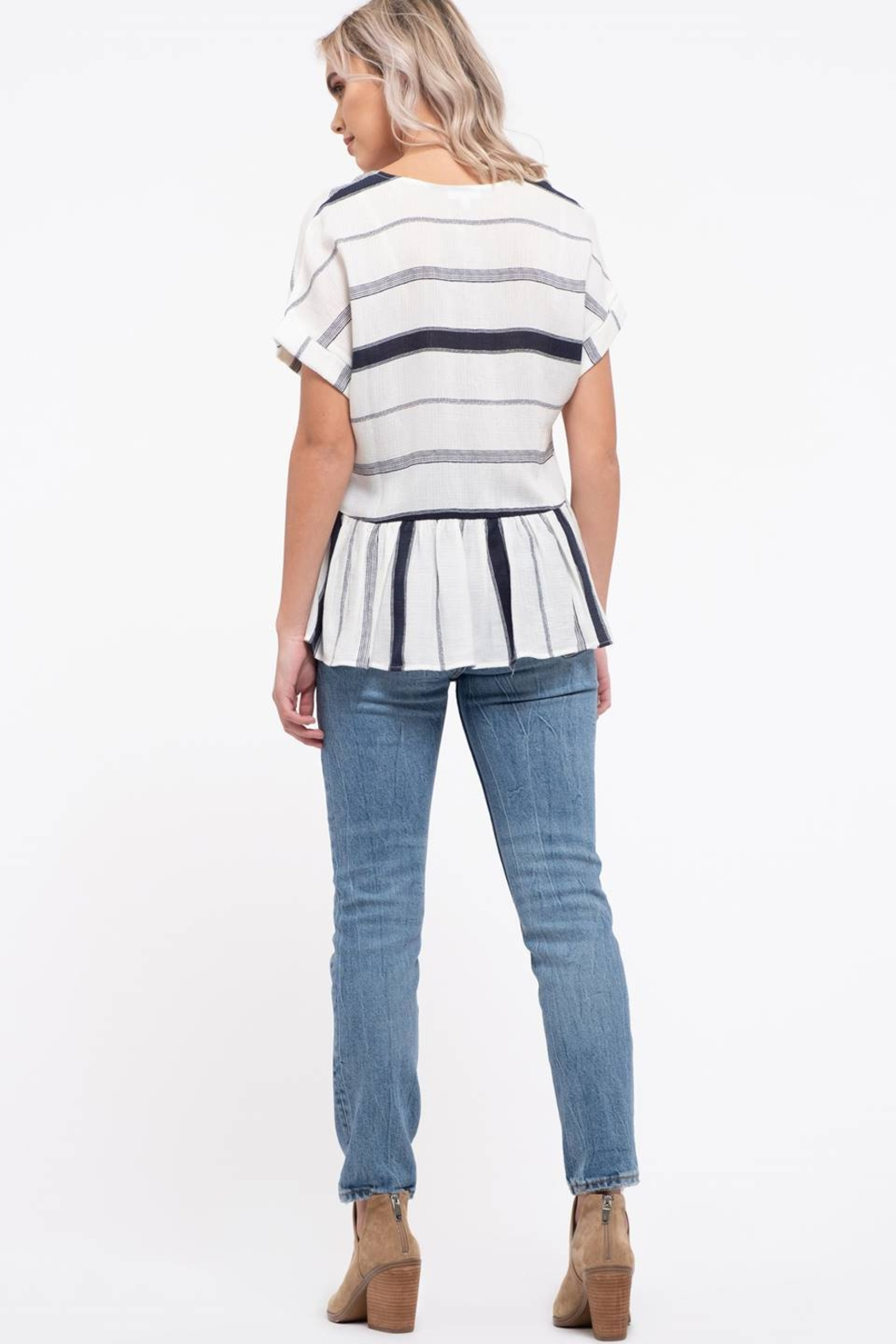 blu Pepper  Striped Button Down Top - Side Cropped Image