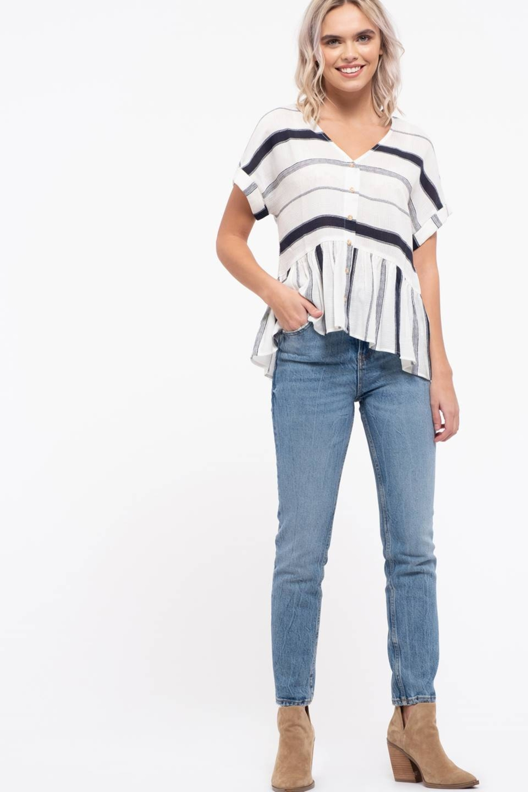 blu Pepper  Striped Button Down Top - Front Full Image