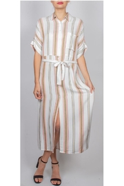 En Creme Striped Button-Front Maxi-Dress - Product Mini Image