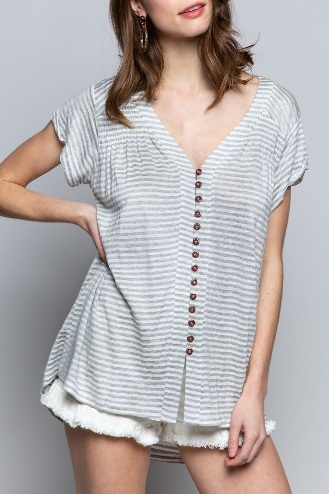 Pol Clothing Striped Button Shirt - Main Image