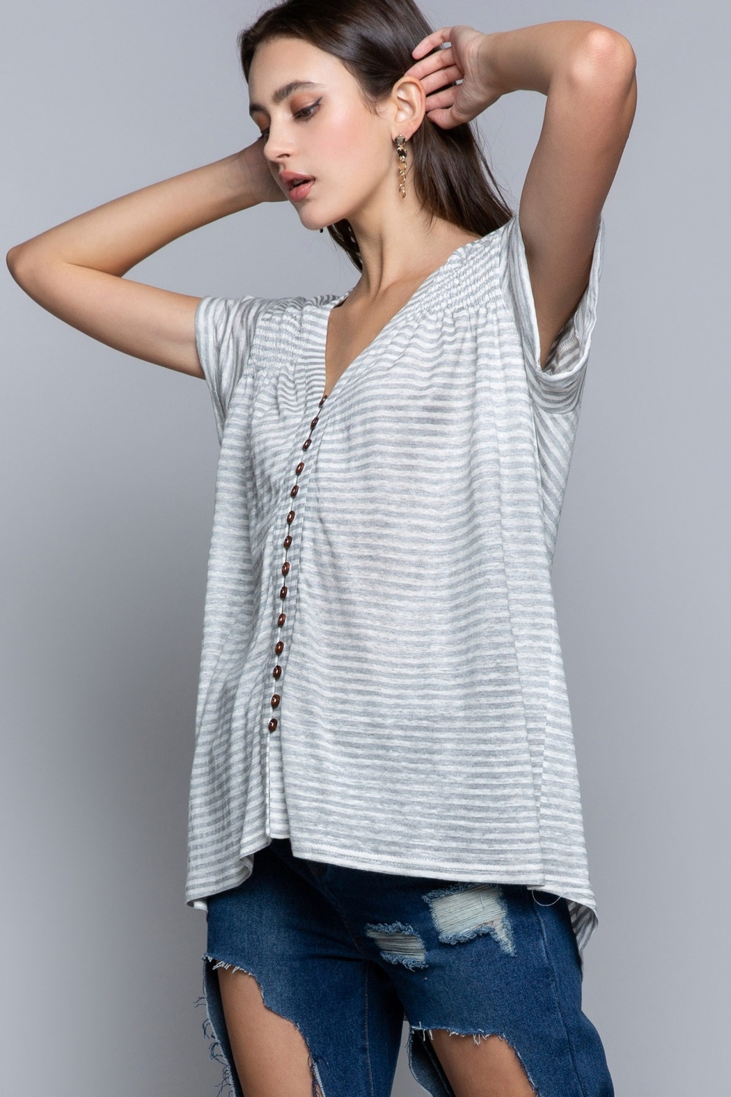 Pol Clothing Striped Button Shirt - Side Cropped Image