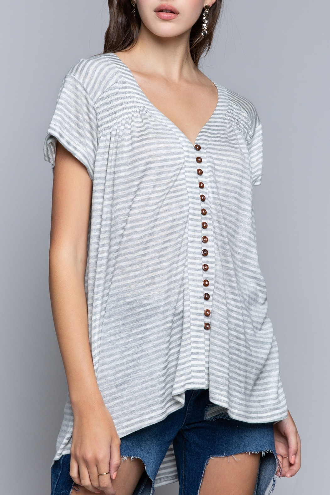 Pol Clothing Striped Button Shirt - Back Cropped Image