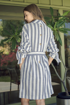 J.O.A. Striped Button Trench - Alternate List Image