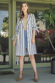 J.O.A. Striped Button Trench - Product Mini Image