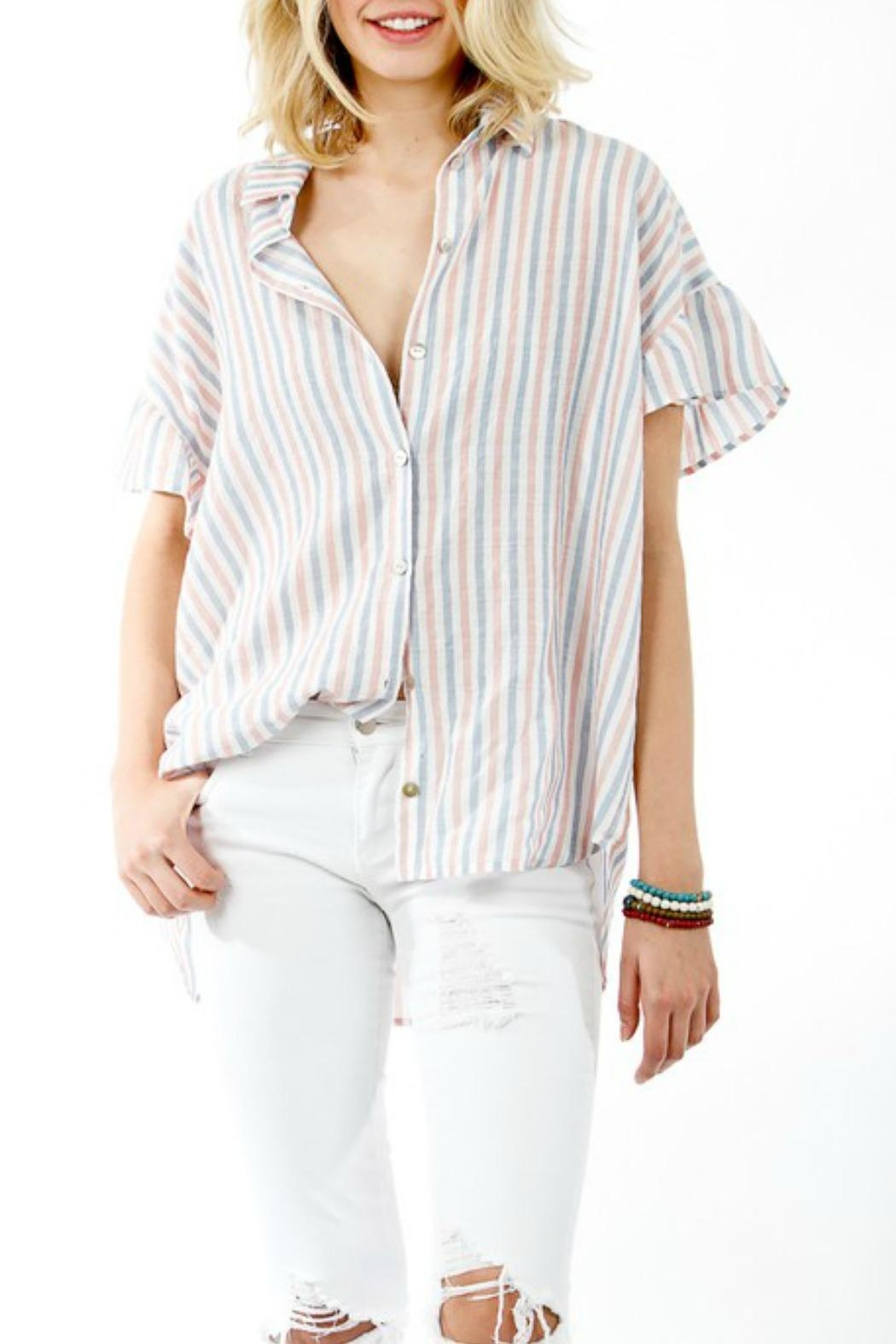 My Story Striped Button-Up Blouse - Main Image