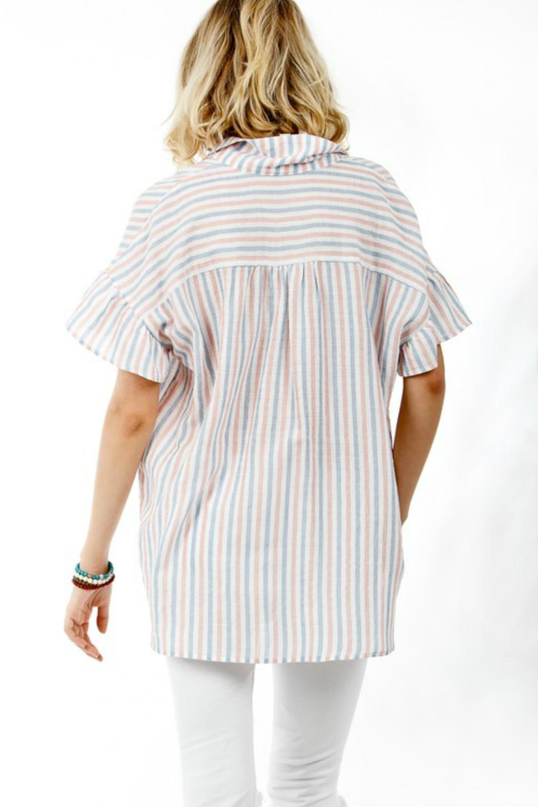 My Story Striped Button-Up Blouse - Front Full Image