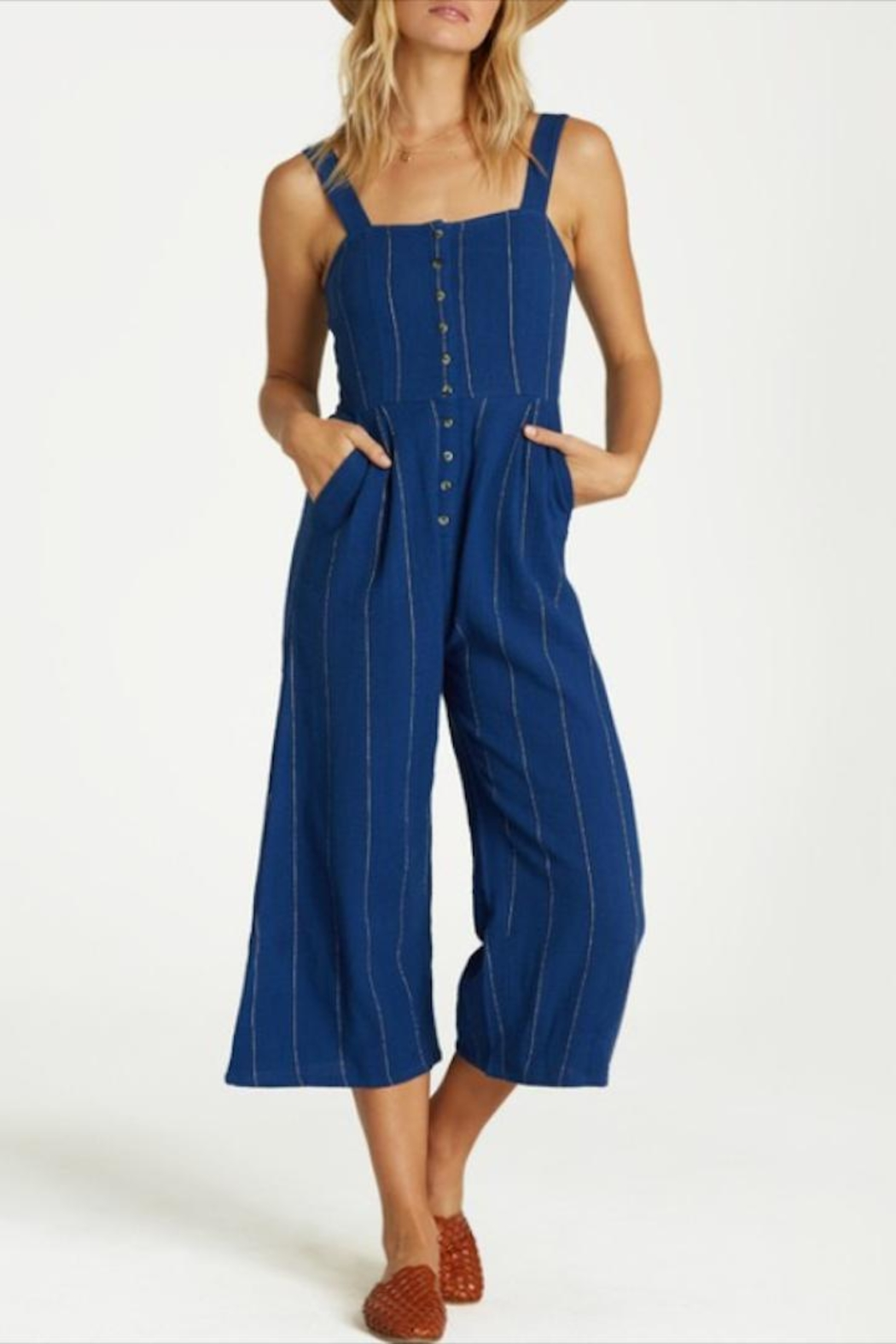 Billabong Striped Button-Up Jumpsuit - Front Full Image