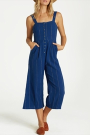 Billabong Striped Button-Up Jumpsuit - Front full body
