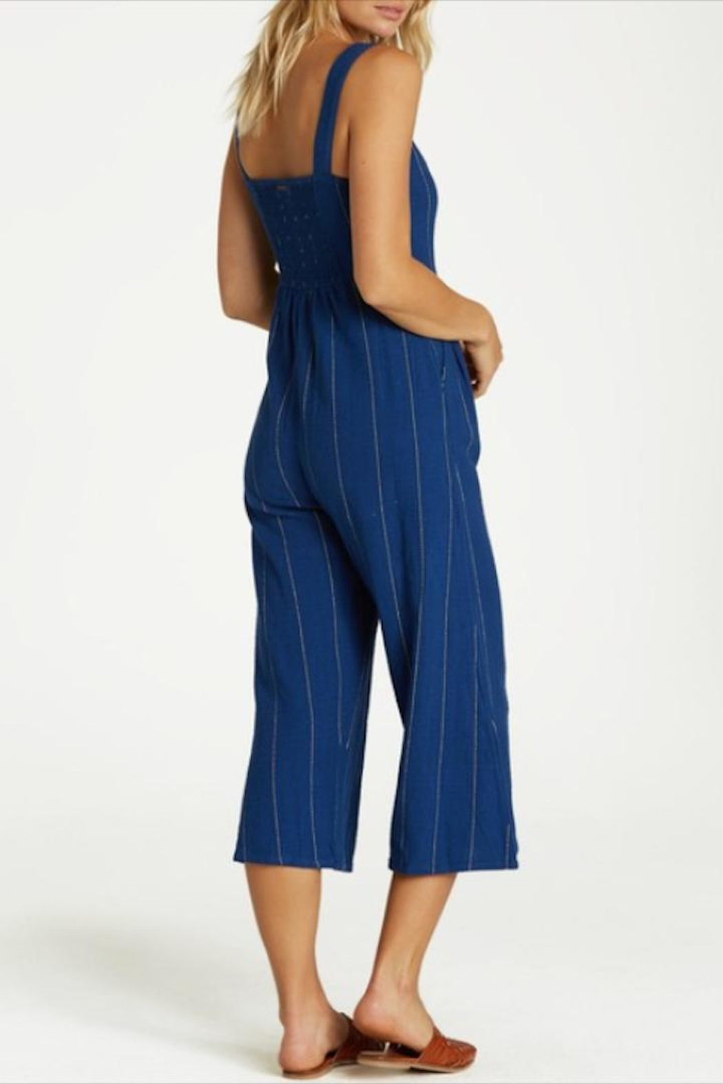 Billabong Striped Button-Up Jumpsuit - Side Cropped Image