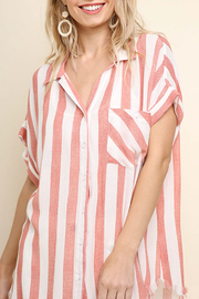 Umgee USA Striped Button-Up Top - Front cropped