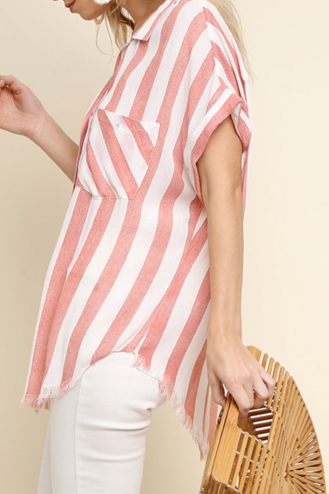 Umgee USA Striped Button-Up Top - Side Cropped Image