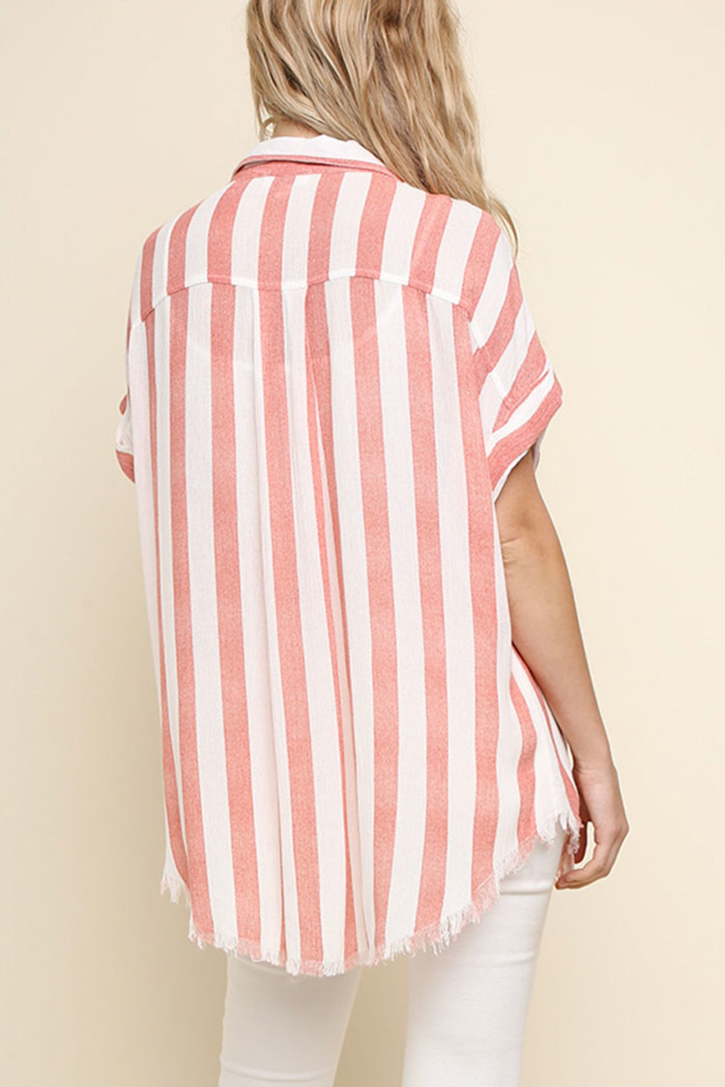 Umgee USA Striped Button-Up Top - Back Cropped Image