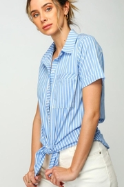 Olivia Pratt Striped Buttoned Top - Product Mini Image