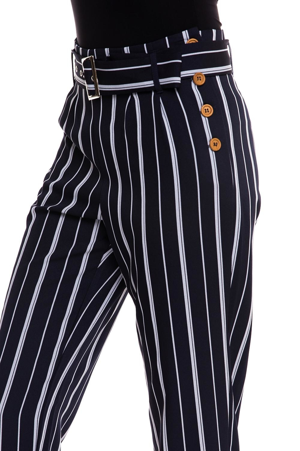 The Clothing Co Striped Buttoned Pants - Back Cropped Image