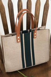 Esley Collection Striped Canvas Tote Bag - Product Mini Image
