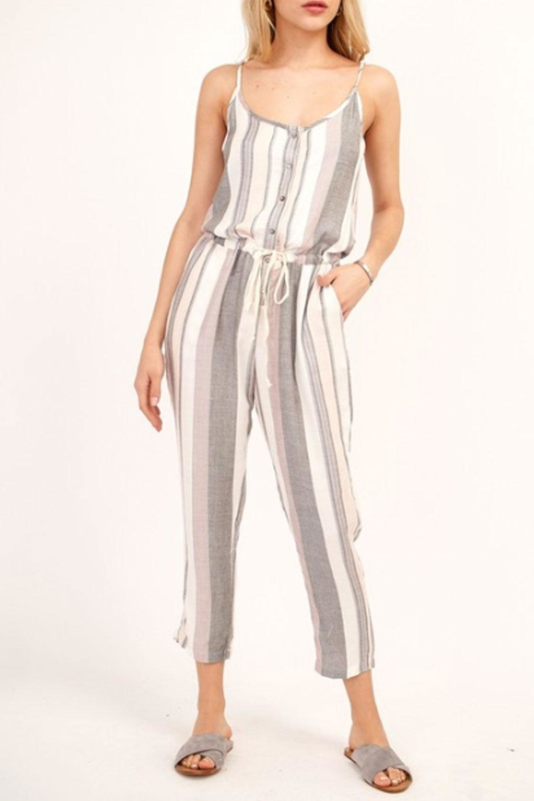 5751d486c80 Olivaceous Striped Capri Jumpsuit from New York by Runway   Rose ...