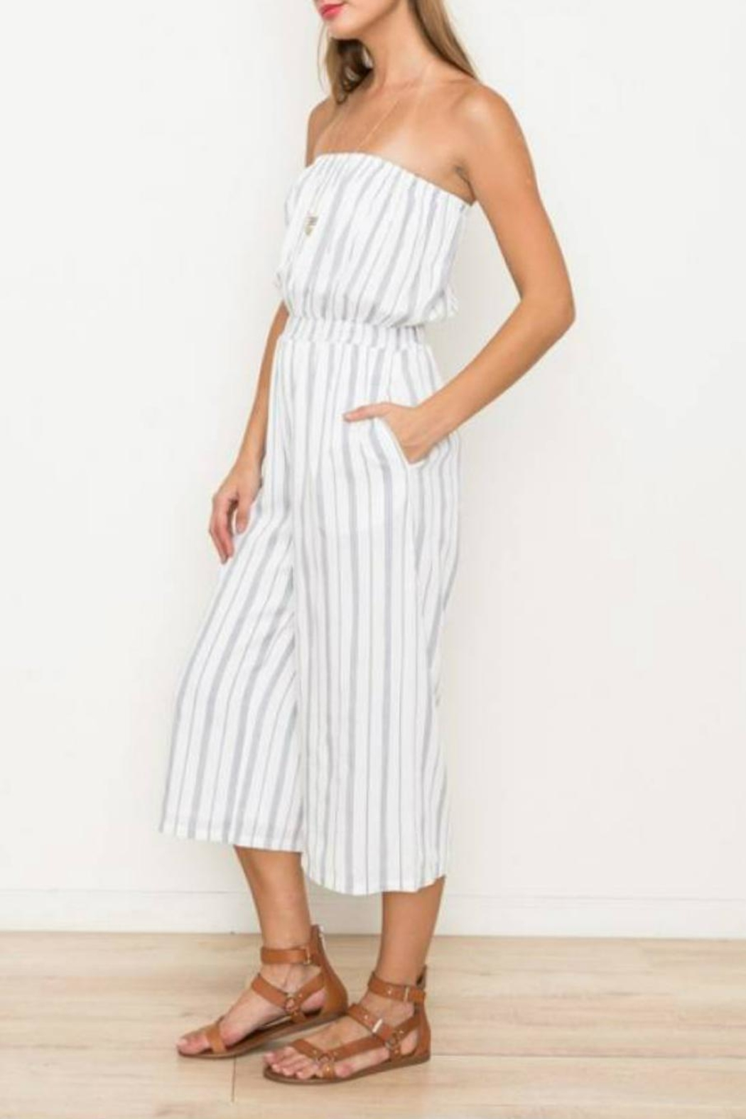 Hem & Thread Striped Capri Jumpsuit - Front Full Image