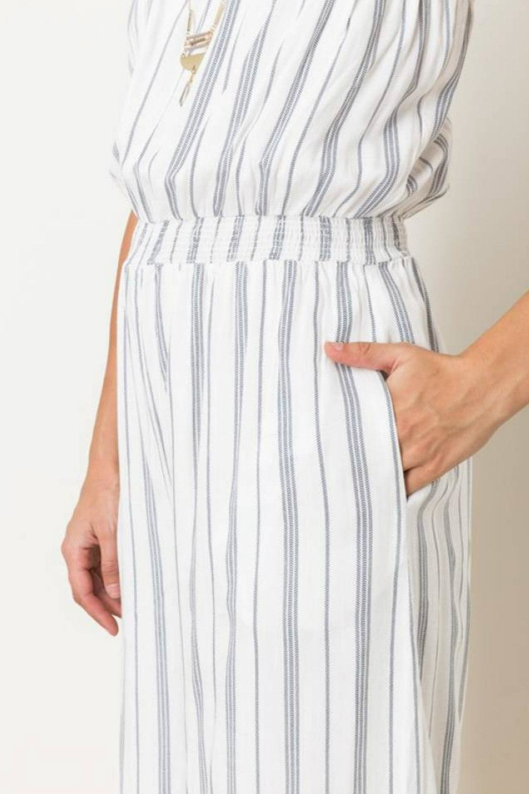 Hem & Thread Striped Capri Jumpsuit - Back Cropped Image