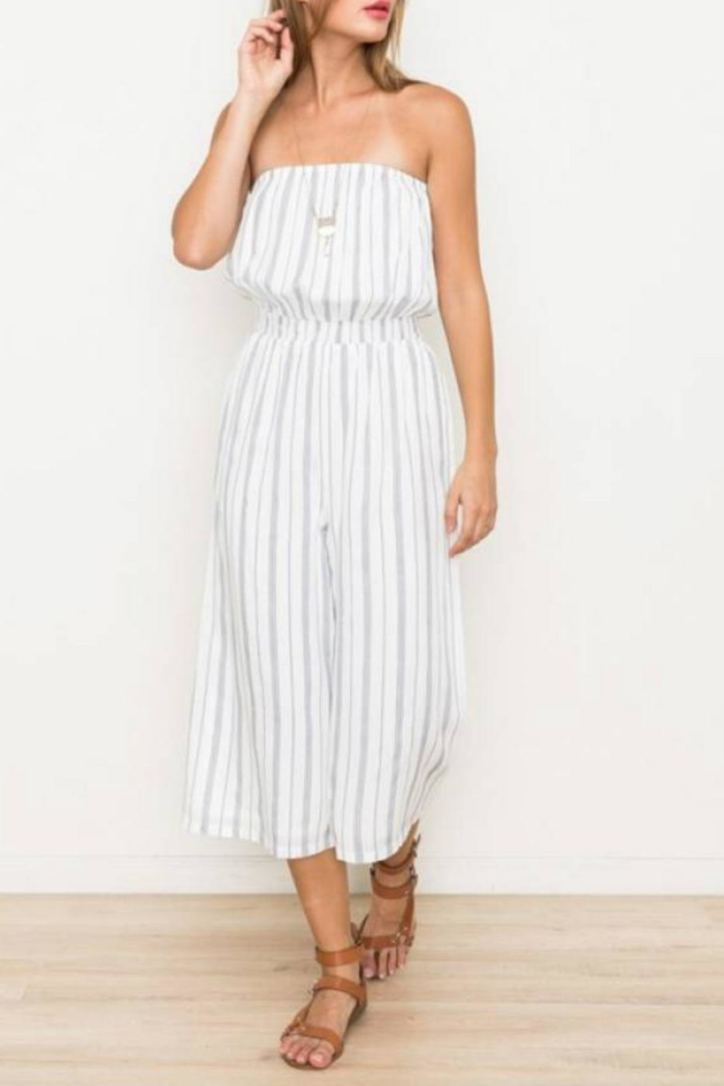 Hem & Thread Striped Capri Jumpsuit - Main Image