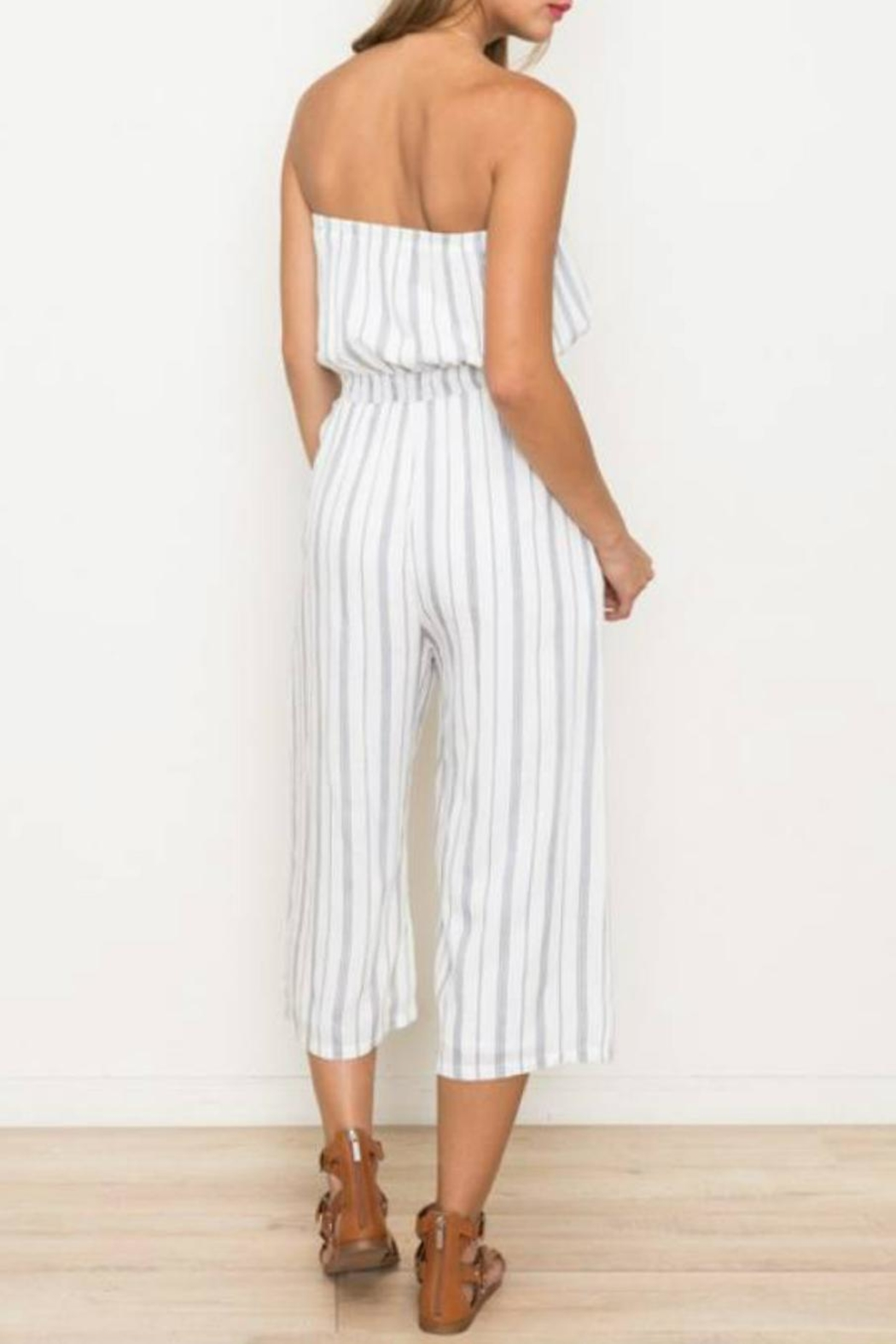 Hem & Thread Striped Capri Jumpsuit - Side Cropped Image