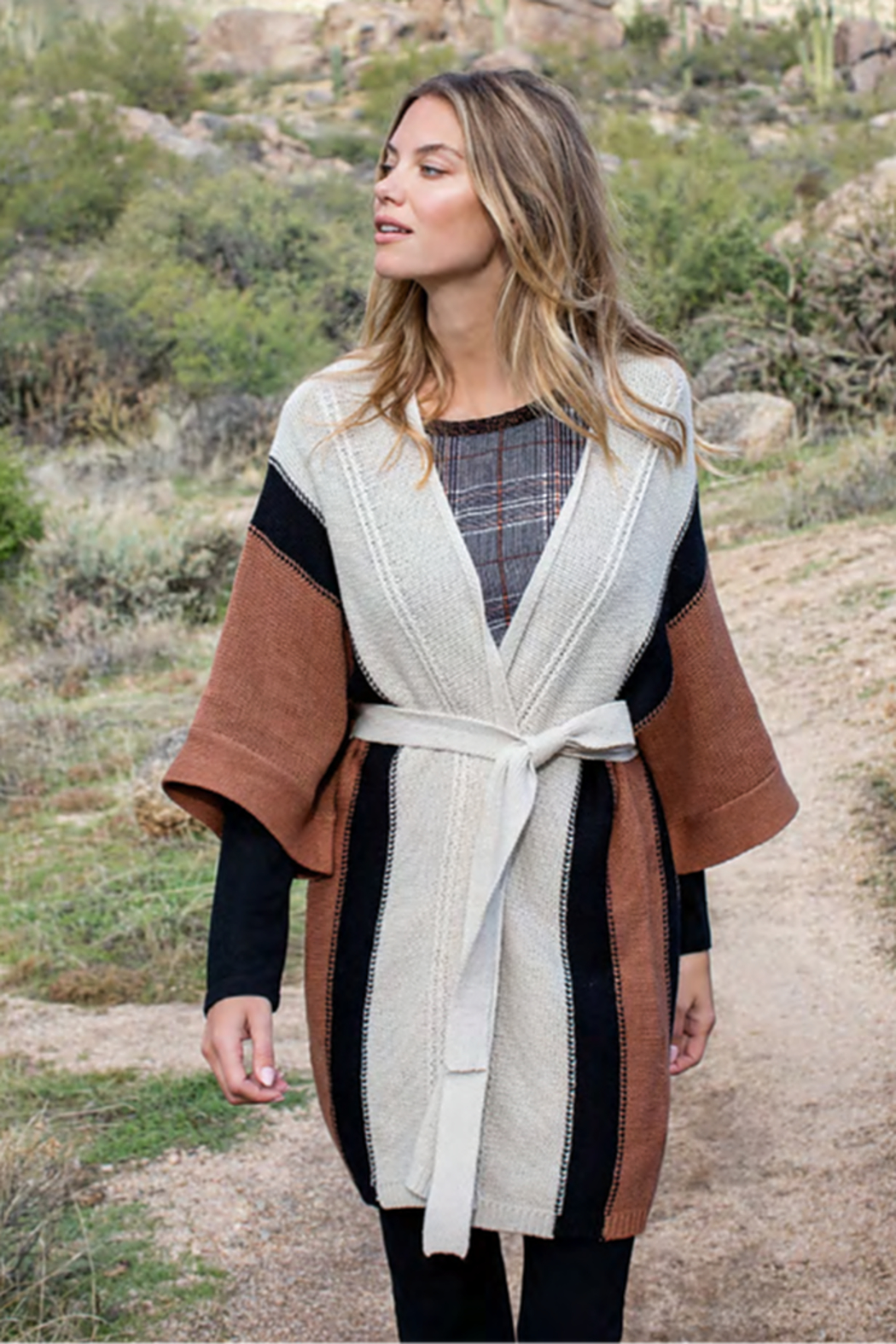 Tribal  Striped Cardigan - Front Cropped Image