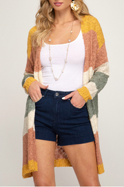 She & Sky  Striped cardigan sweater - Front cropped