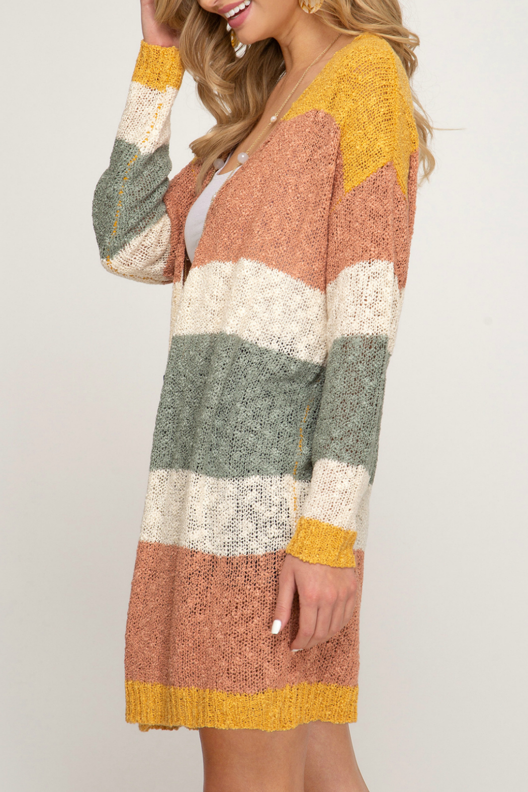 She & Sky  Striped cardigan sweater - Front Full Image