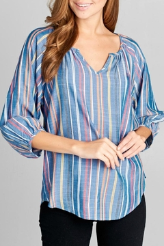 Miss Darlin Striped Chambray Top - Product List Image