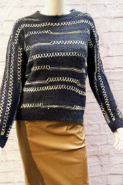 Davi & Dani STRIPED CHARCOAL SWEATER - Product Mini Image