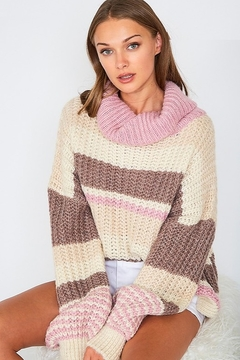 Vine & Love Striped Chunky Knit Turtleneck Sweater - Product List Image