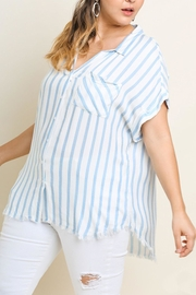 UMG PLUS Striped Collared Top - Product Mini Image