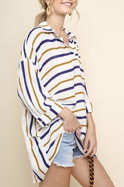 Umgee USA Striped Collared Top - Front full body
