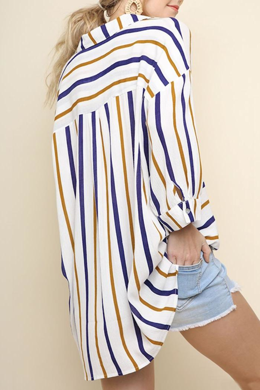 Umgee USA Striped Collared Top - Side Cropped Image