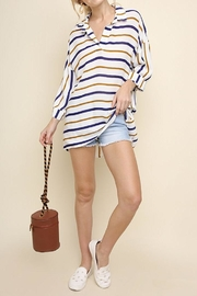 Umgee USA Striped Collared Top - Front cropped