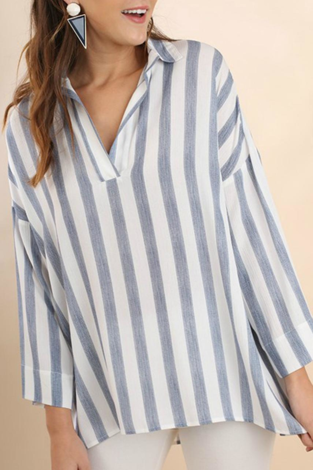 Umgee USA Striped Collared Tunic - Front Cropped Image